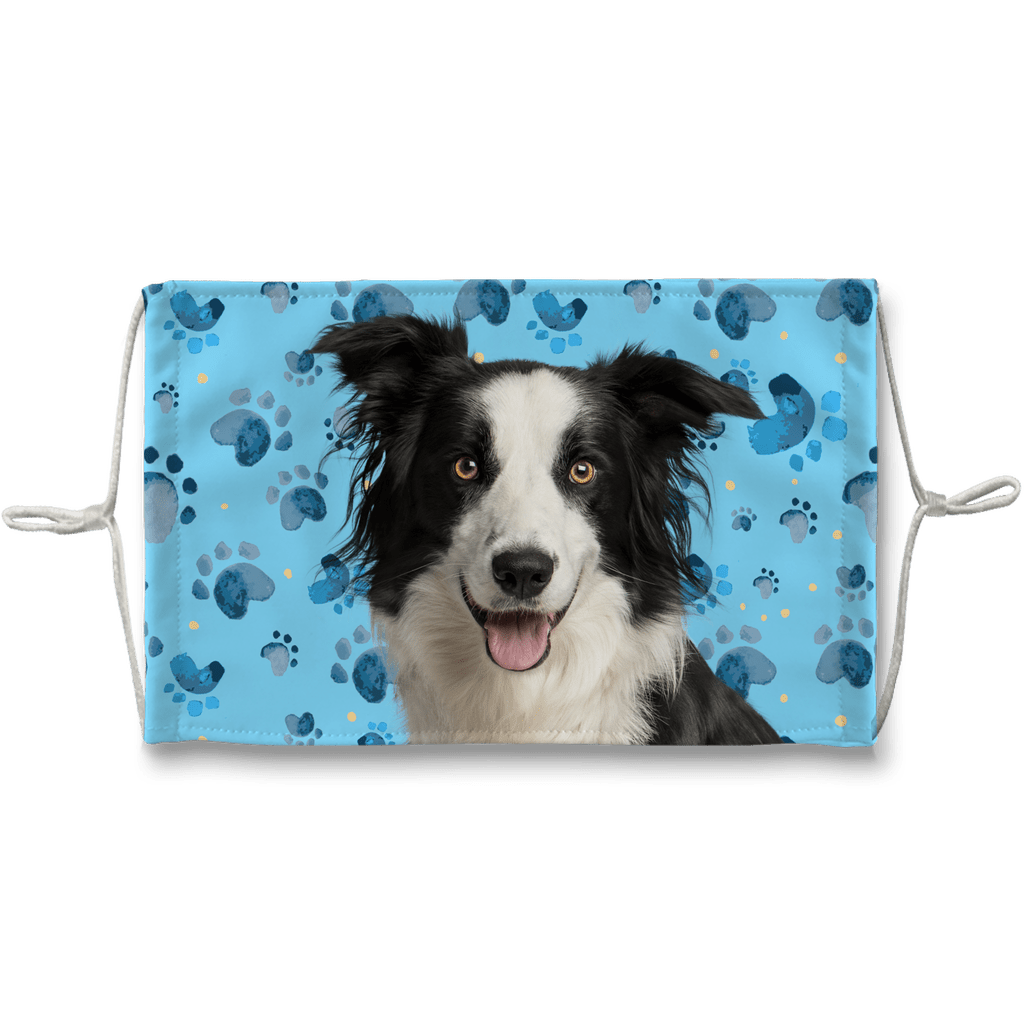 Border Collie Blue Paw Print Sublimation Face Mask