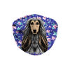 Afghan Hound Watercolor Blue Floral Sublimation Face Mask