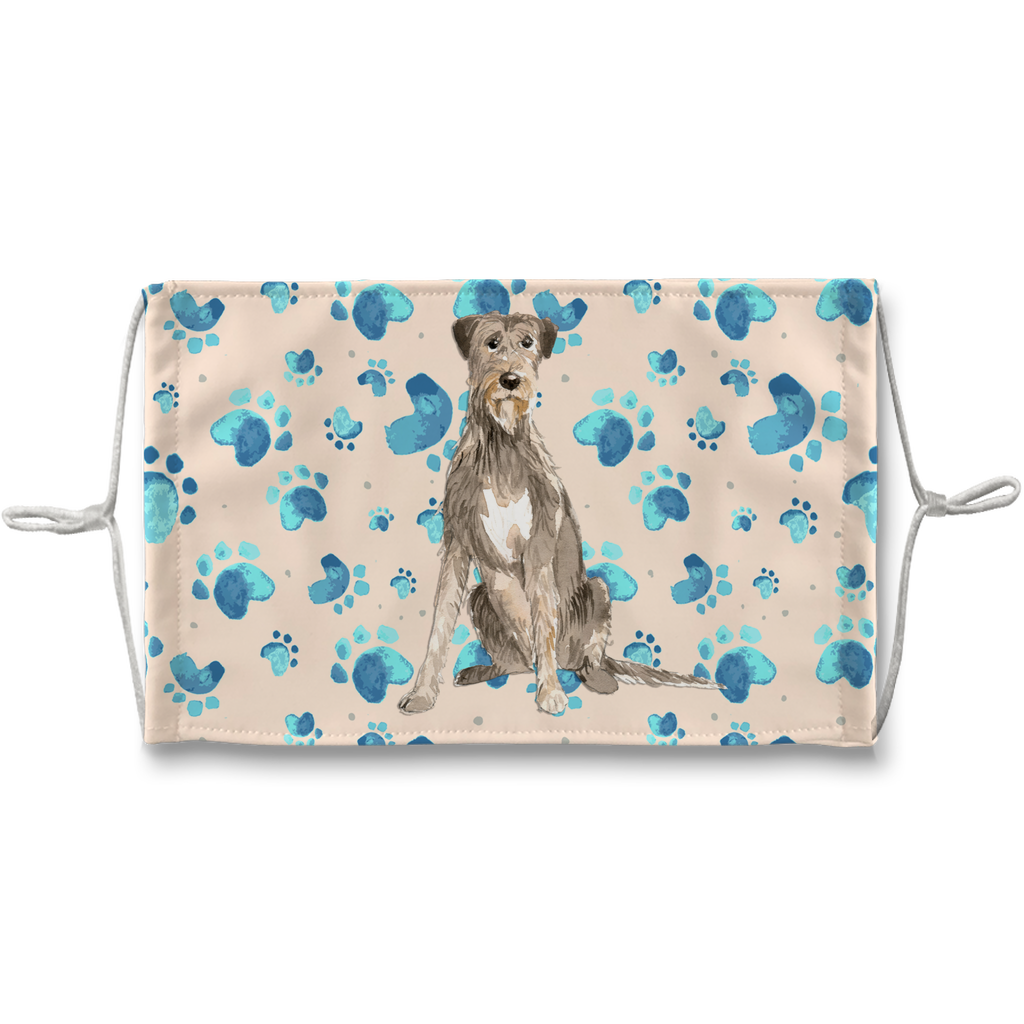 Irish Wolfhound Tan Paw Print Sublimation Face Mask