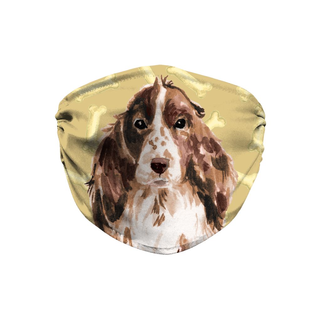 Cocker Spaniel Dog Brown Watercolor Sublimation Face Mask