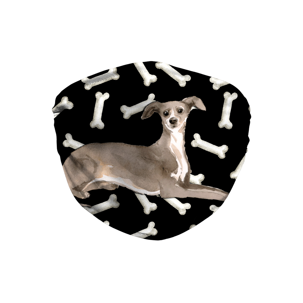 Italian Greyhound Dog Dark Bones Sublimation Face Mask