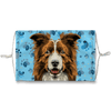 Border Collie Brown Watercolor Blue Paw Print Sublimation Face Mask