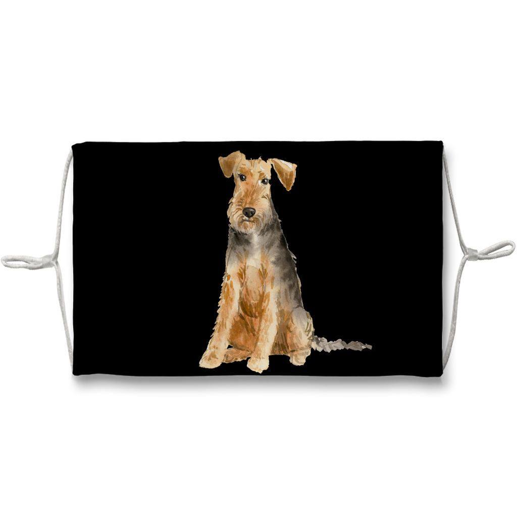 Welsh Terrier Dog on Black Background Sublimation Face Mask