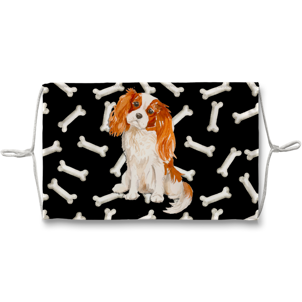 Cavalier King Charles Spaniel Dark Bones Sublimation Face Mask