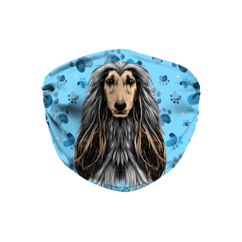 Afghan Hound Blue Paw Print Sublimation Face Mask