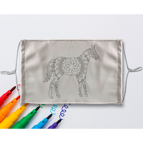 Horse Mandala Sublimation Coloring Face Mask