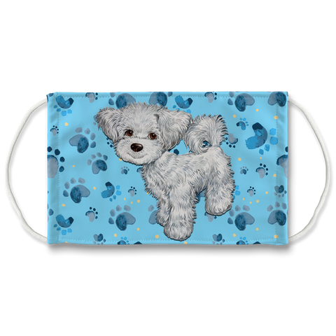 Maltese Dog Puppy Cut Blue Paw print Sublimation Face Mask