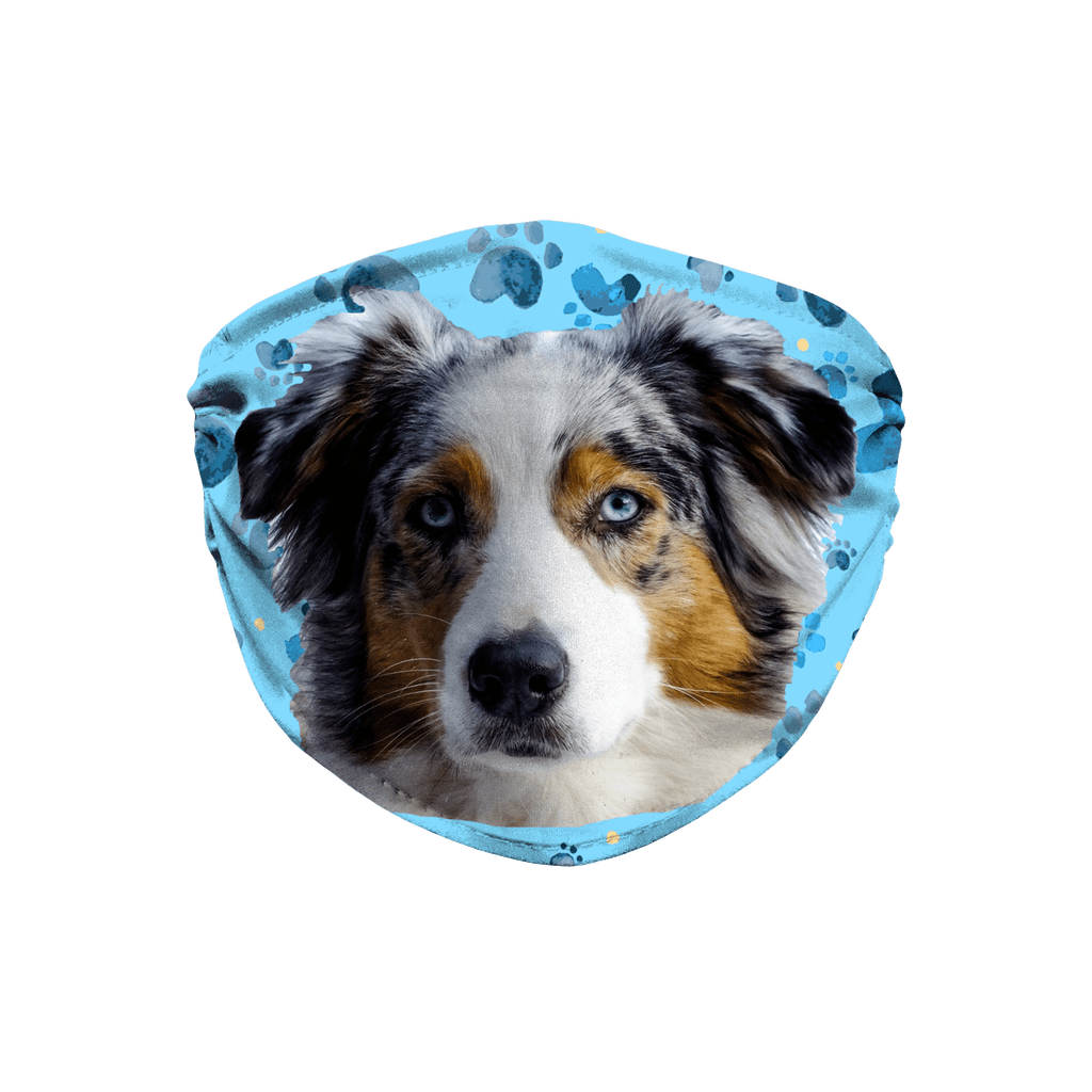 Australian Shepherd Blue Paw Print Sublimation Face Mask
