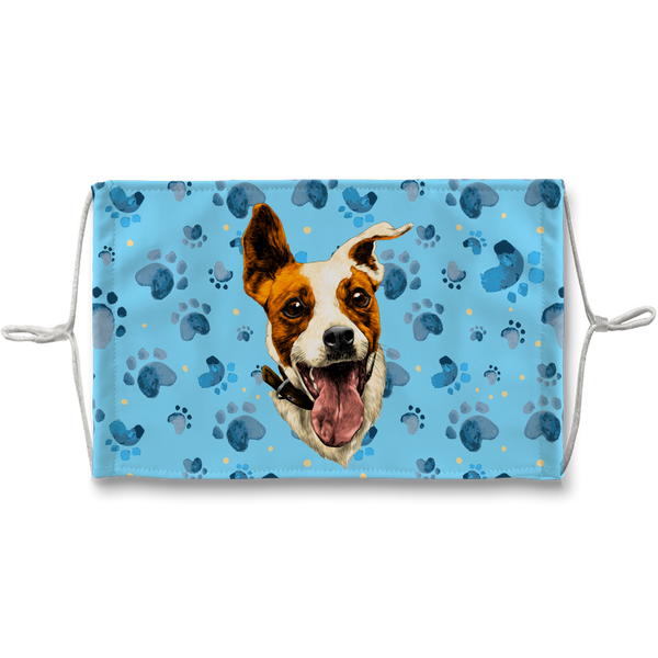 Jack Russell Terrier Dog Blue Paw Print Sublimation Face Mask