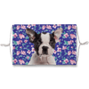 Boston Terrier Puppy Blue Floral Sublimation Face Mask