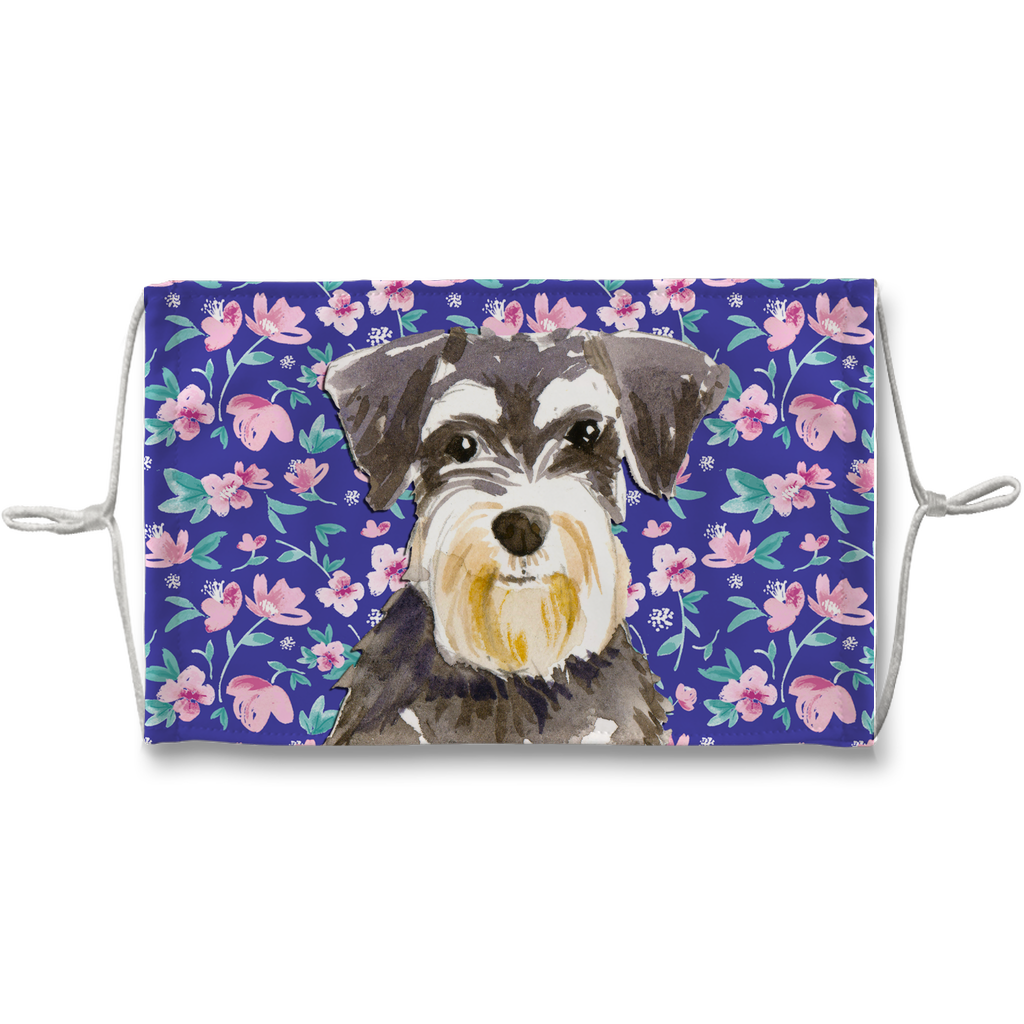 Miniature Schnauzer Watercolor - Blue Floral Sublimation Face Mask