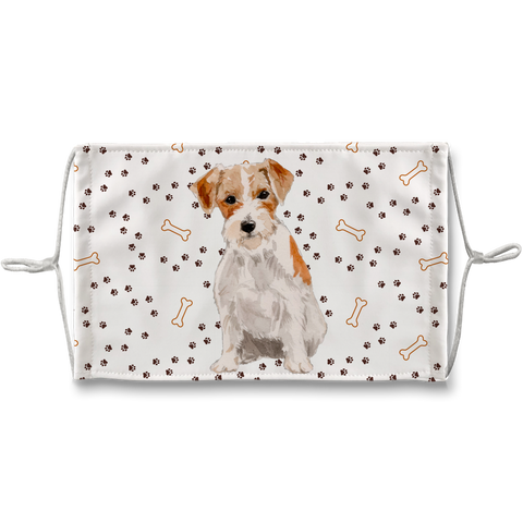 Jack Russell Wire Haired Terrier Dog Paw Print Sublimation Face Mask