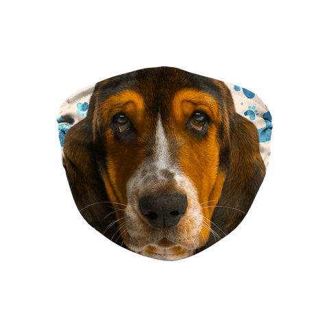 Basset Hound Puppy Muzzle Tan Paw Print Sublimation Face Mask