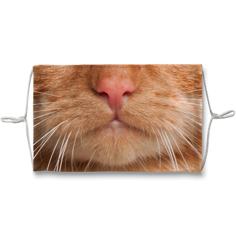 Orange Tabby Cat Whiskers Sublimation Face Mask