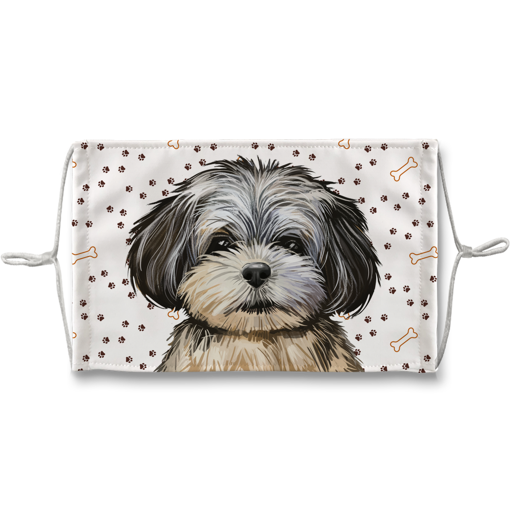Peekapoo Puppy Paw Print Sublimation Face Mask
