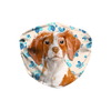 Brittany Spaniel Watercolor Dog Tan Paw Print Sublimation Face Mask