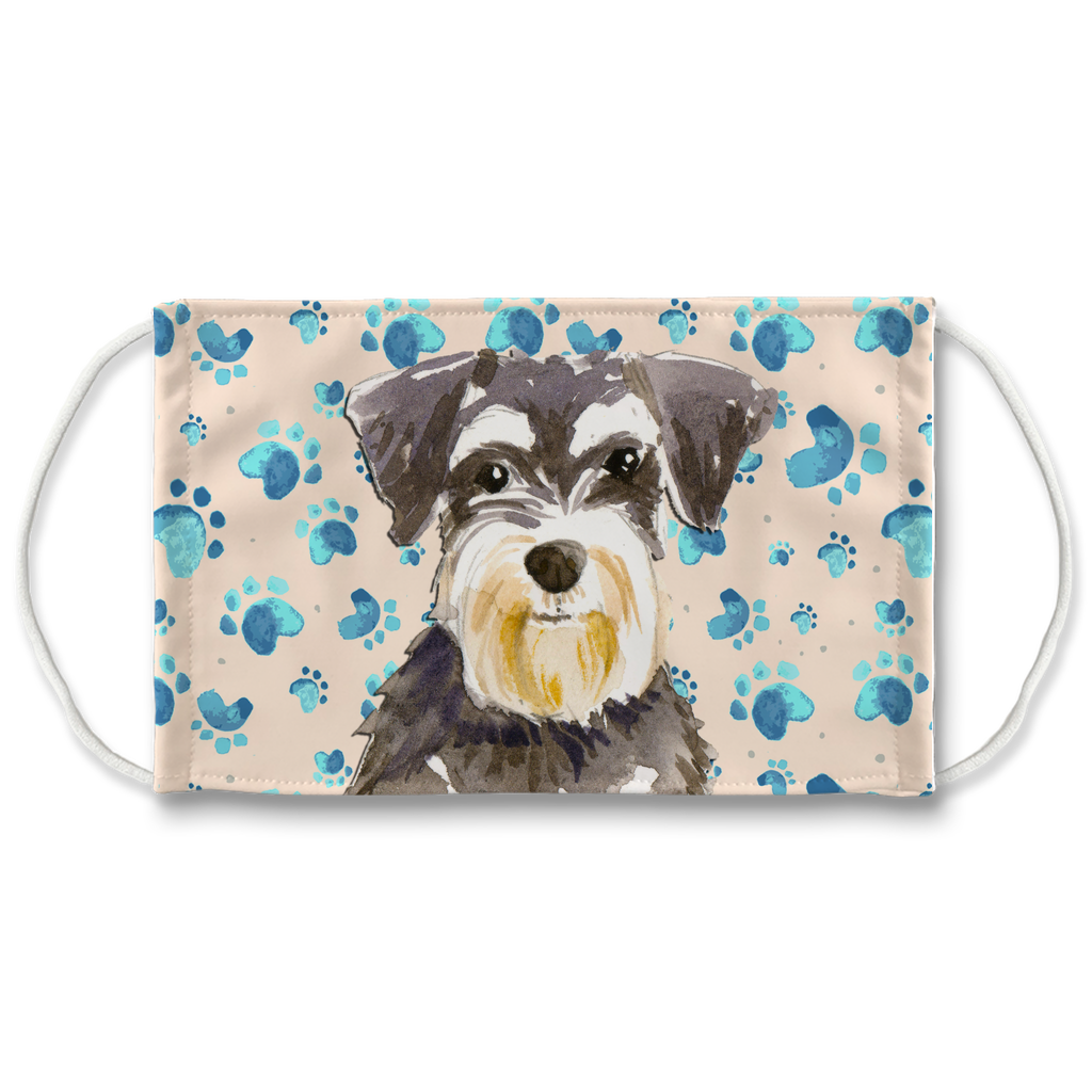 Miniature Schnauzer Tan Paw Print Sublimation non-medical Face Mask