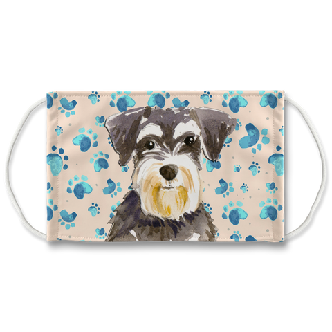 Miniature Schnauzer Tan Paw Print Sublimation Face Mask