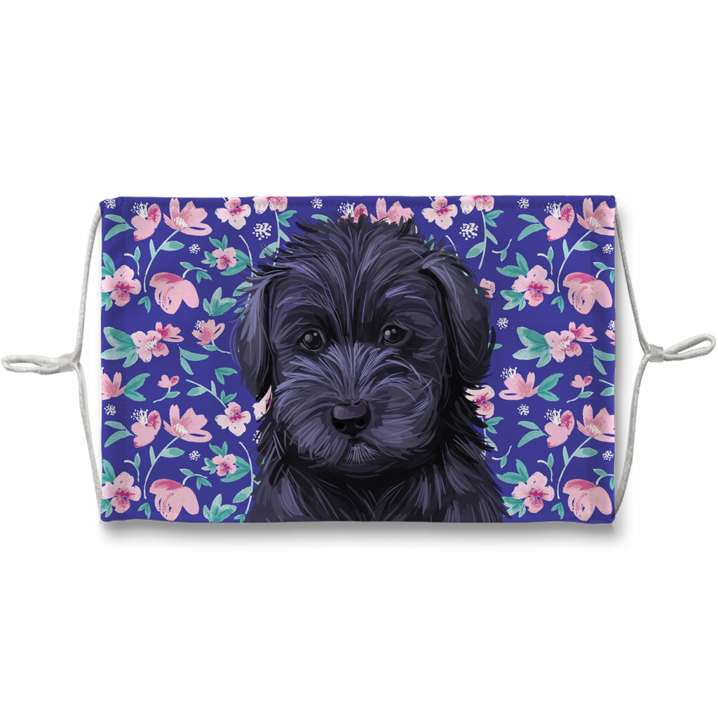 Schnoodle puppy blue floral Sublimation Face Mask