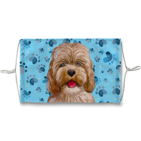 Cockapoo Dog Blue Paw Print Made in London Sublimation Face Mask