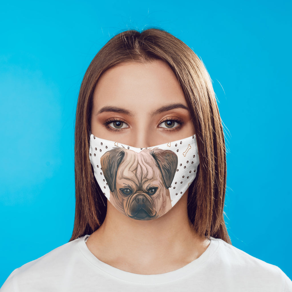 Puggle Dog watercolor printed Face Mask - washable with pocket and carbon filter