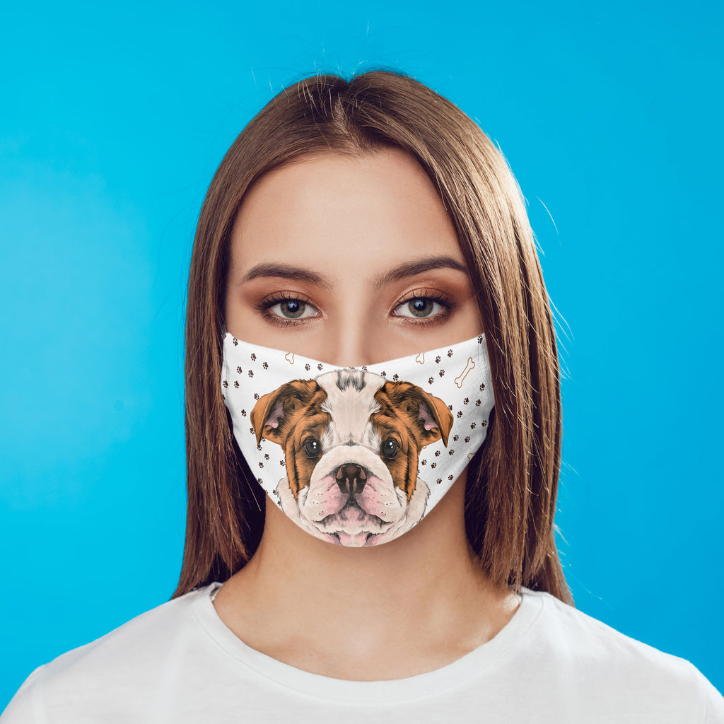 Bulldog Puppy Watercolor Face Cover Art with pocket and carbon filter