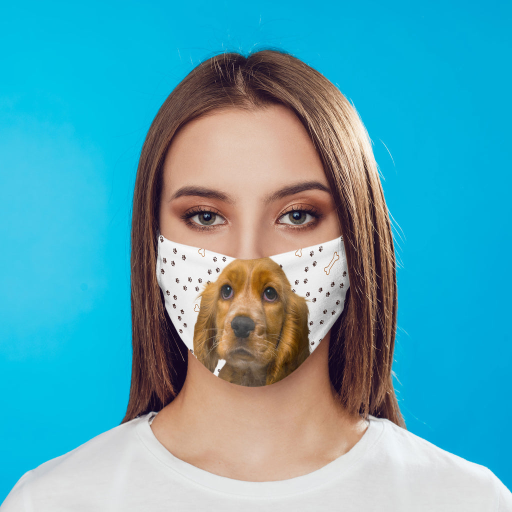 Cocker Spaniel Puppy Face Mask washable with pocket