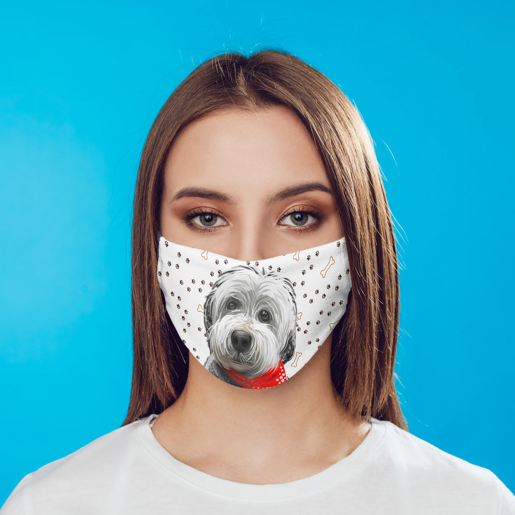 Old English Sheepdog Puppy watercolor printed Face Mask