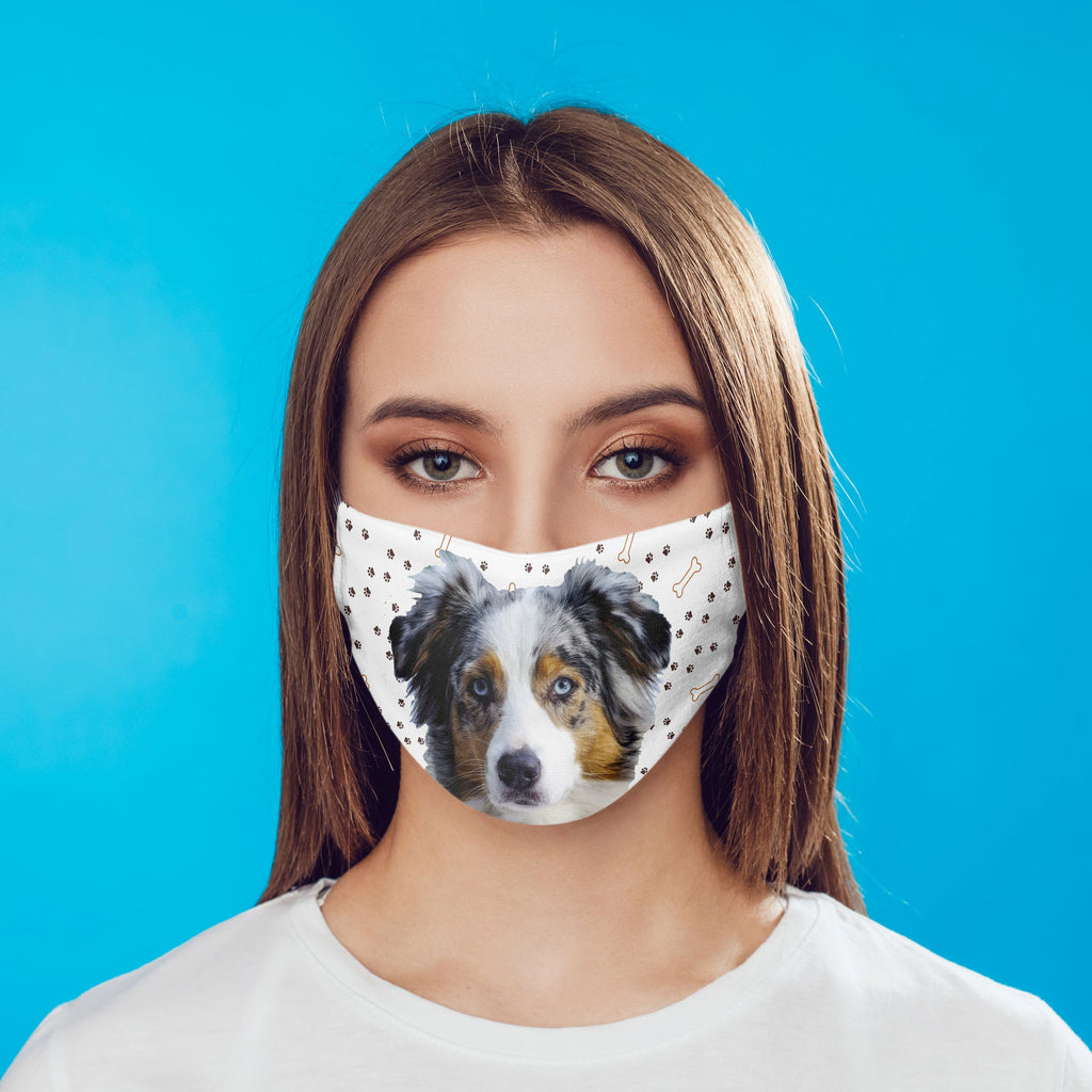 Australian Shepherd Face Cover washable reusable  - optional carbon filter - ear loops