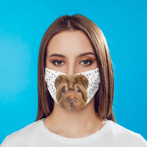Shar-Pei Puppy Face Mask Washable Reusable printed fabric face cover