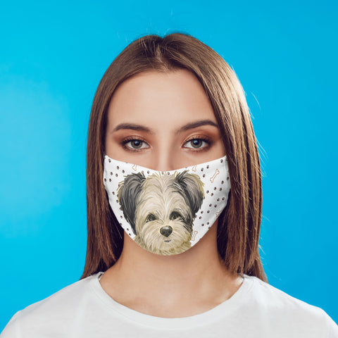 Maltipoo Dog Face Mask Washable Reusable Sublimation Printed Fabric Cover Art