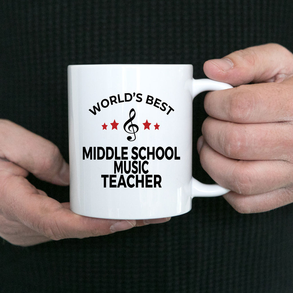 Middle School Music Teacher Gift World's Best Birthday Appreciation Thank-you Present White Ceramic Novelty Coffee Tea Mug