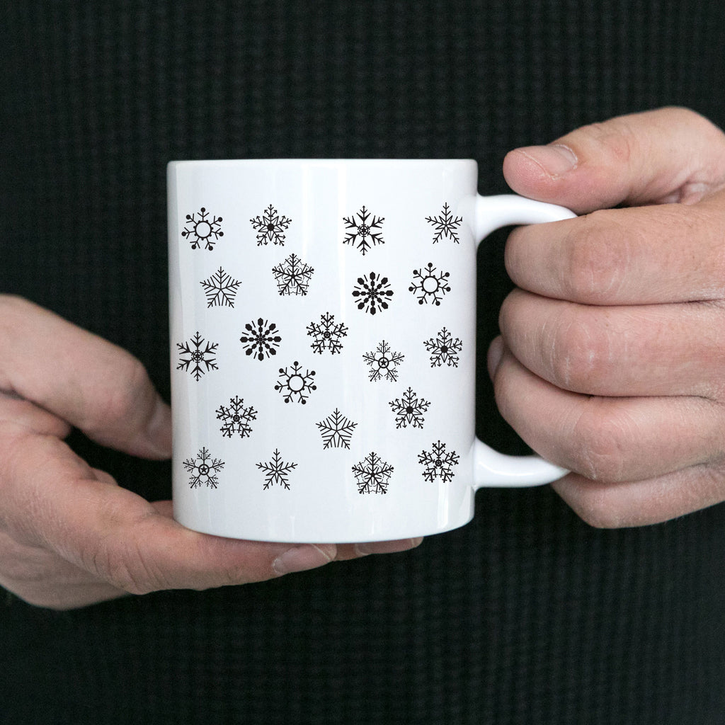 Snowflake White Ceramic Coffee Mug