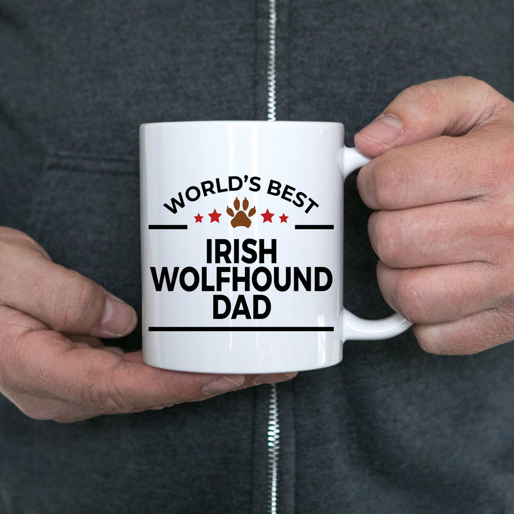 Irish Wolfhound Dog Lover Gift World's Best Dad Birthday Father's Day White Ceramic Coffee Mug