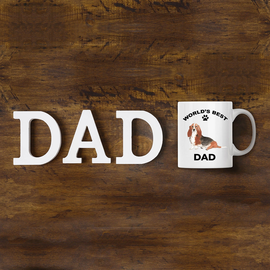 Basset Hound Best Dad Watercolor Print Coffee Mug