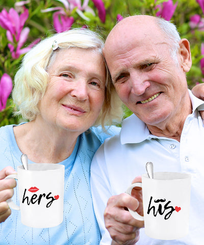 His and Hers Ceramic Couples Coffee Mugs - Set of 2