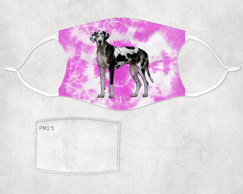 Great Dane Dog Tie Dyed Face Mask Child and Adult sizes Made in USA