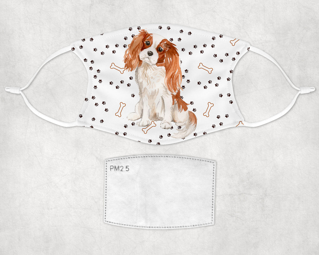 Cavalier King Charles Spaniel Watercolor Printed Fabric Face Cover Art Adult and Child Size Made in USA