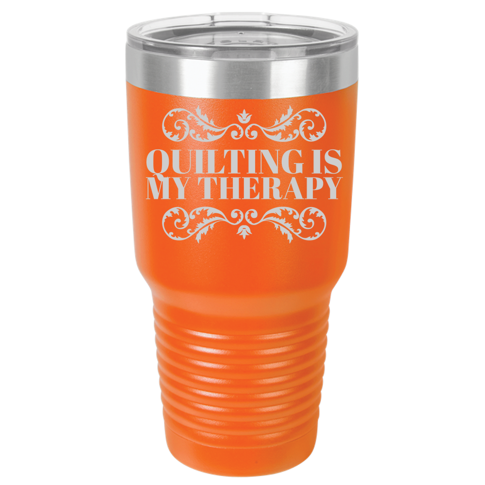 Quilter Polar Camel 30oz Ringneck Laser Etched Tumbler - Quilting is My Therapy