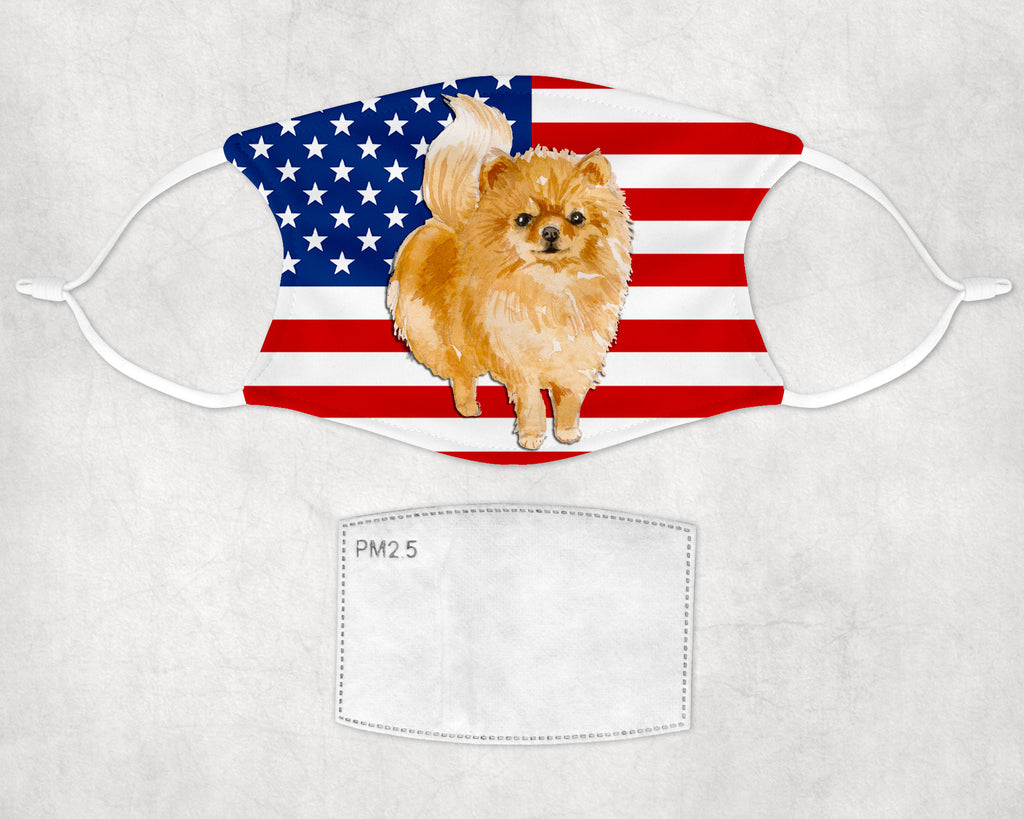 Pomeranian Dog Child and Adult Face Masks Made in USA