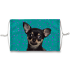 Chihuahua Black and Tan Puppy on Teal Sublimation Face Mask