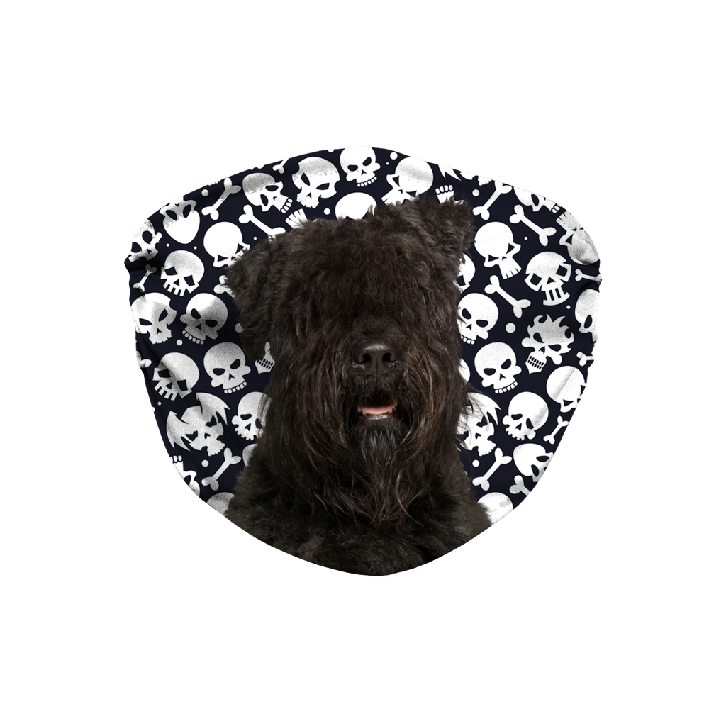Bouvier des Flandres Dog on Skulls Sublimation Face Mask