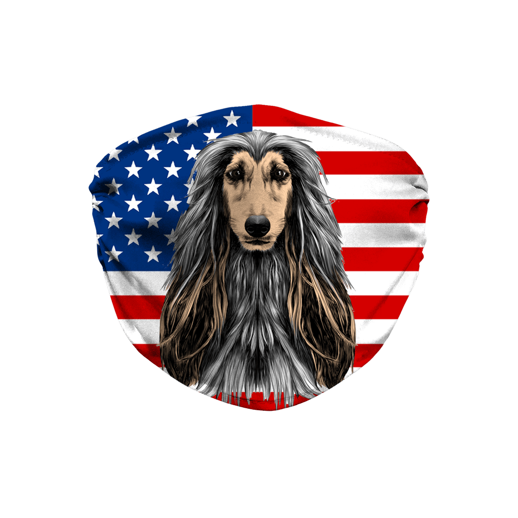 Afghan Hound USA Flag Sublimation Face Mask