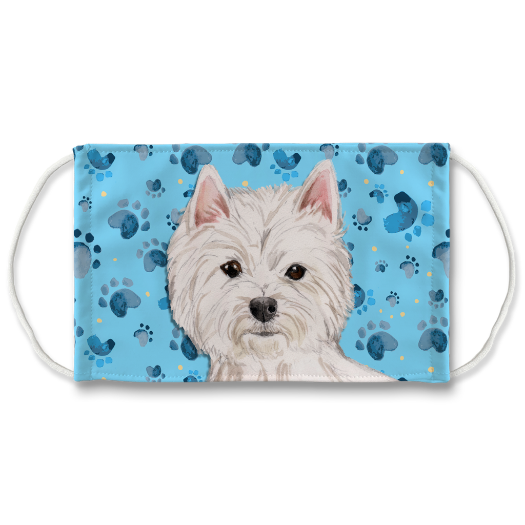 West Highland White Terrier Dog - Westie - blue paw print Sublimation Face Mask