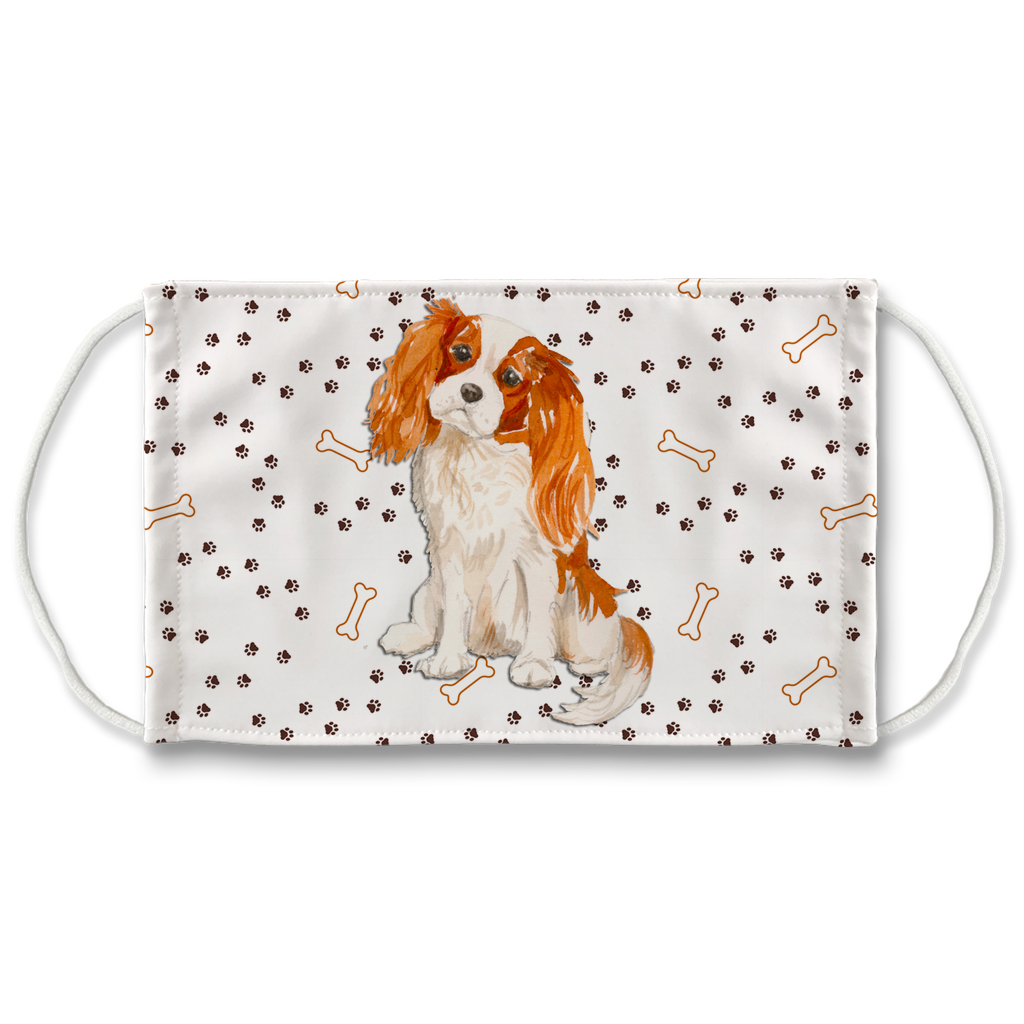 Cavalier King Charles Spaniel Dog Paw Print Sublimation Face Mask