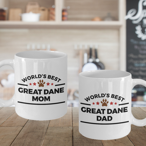 Great Dane Dog Dad and Mom Couple Set of 2 Cups
