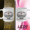 Australian Shepherd Dog Dad and Mom Couples Set of 2 Mugs