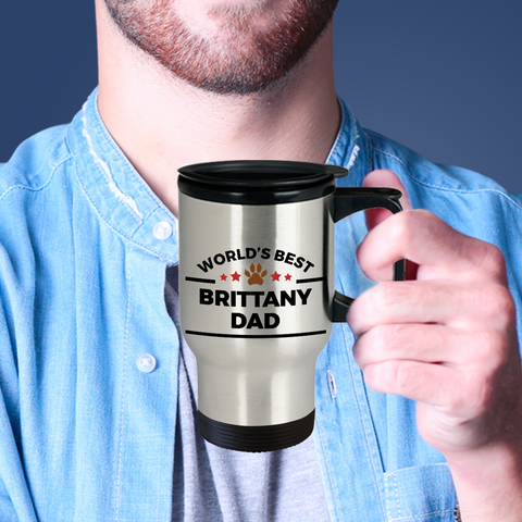 Brittany Spaniel Dog Lover Gift World's Best Dad Birthday Father's Day Stainless Steel Insulated Travel Mug