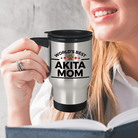 Akita Dog Mom Travel Coffee Mug