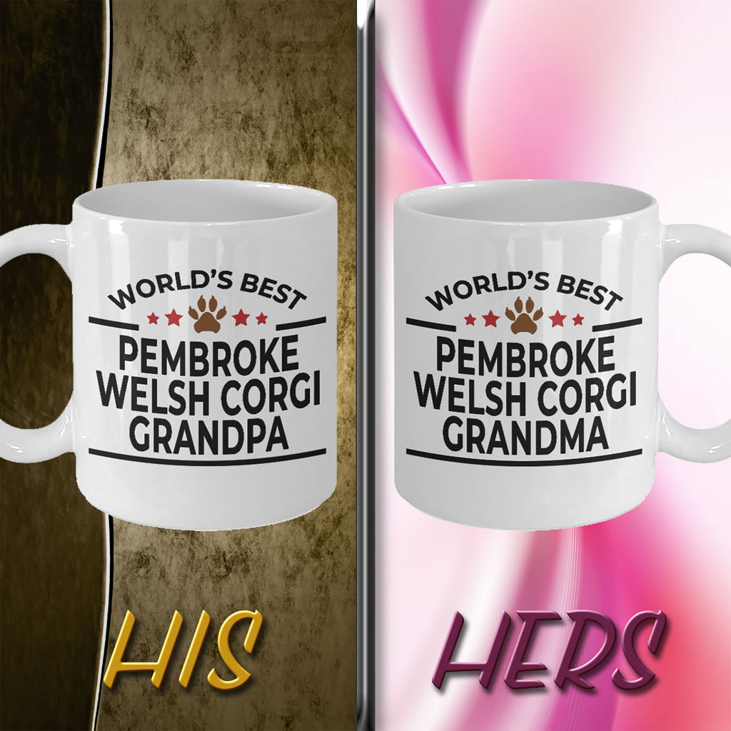 Pembroke Welsh Corgi Dog Grandpa and Grandma Coffee Mugs - Set of 2 - His and Hers